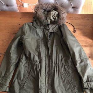 Madewell Wearmaster jacket and fur lined hood